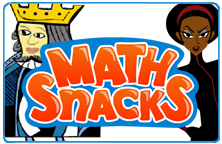 Image of the Math Snacks title slide featuring two of the characters.